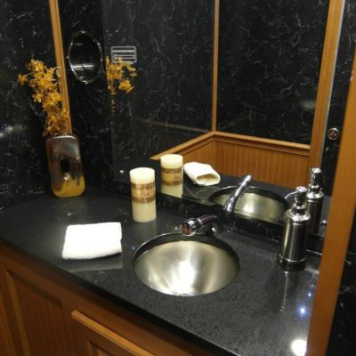 restroom trailers black countertops